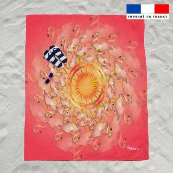 Coupon éponge pour serviette de plage double motif flamant rêve d'été - Création Lita Blanc