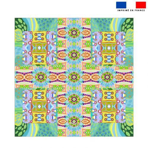 Coupon éponge pour serviette de plage double motif fleur pétales bleus - Création Lita Blanc