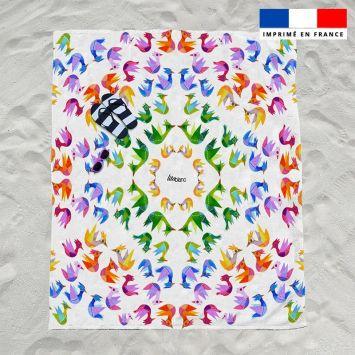Coupon éponge pour serviette de plage double motif pajaros colores - Création Lita Blanc