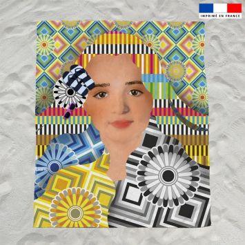 Coupon éponge pour serviette de plage double motif diva et rosaces - Création Lita Blanc