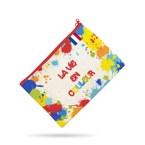 Kit pochette multicolore motif peinture