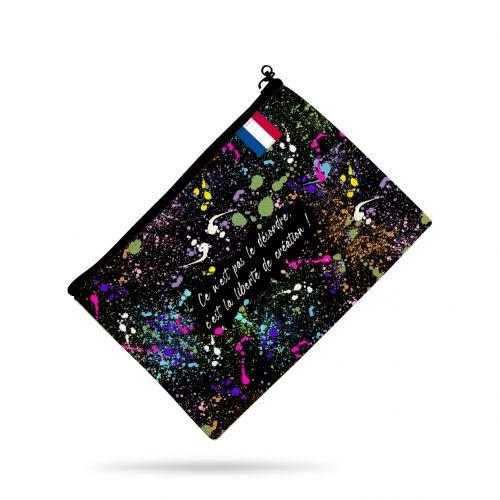 Kit pochette noir motif tâche de peinture