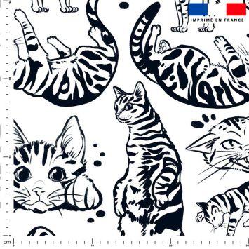 Chats tigrés symétriques - Fond blanc - Création Pilar Berrio