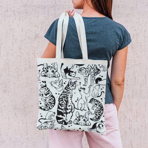 Coupon 45x45 cm motif chats tigrés - Création Pilar Berrio