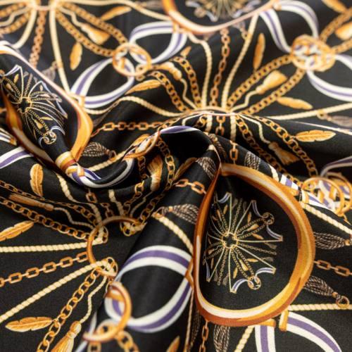 Satin noir imprimé chaine et ruban bleu et écru