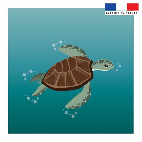 Coupon vert 45x45 cm motif tortue et bulles