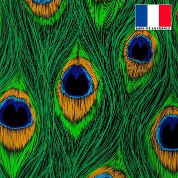 Tissu microfibre imprimé plume de paon dessin