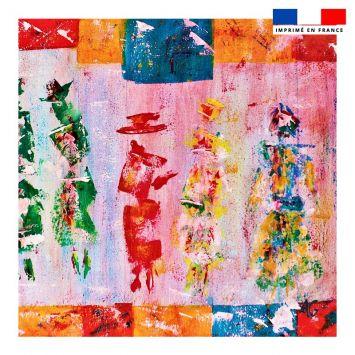 Coupon 45x45 cm motif silhouettes effet peinture - Création Anne Gillard