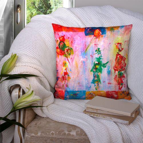 Coupon 45x45 cm motif silhouettes et ballons effet peinture - Création Anne Gillard