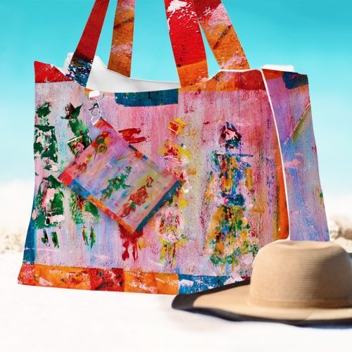 Kit sac de plage imperméable motif silhouettes effet peinture - King size - Création Anne Gillard