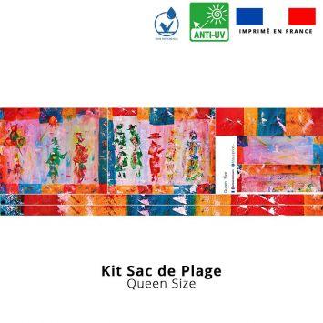 Kit sac de plage imperméable motif silhouettes effet peinture - Queen size - Création Anne Gillard