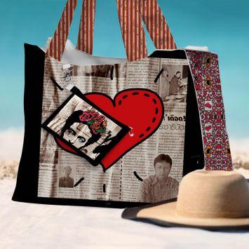 Kit sac de plage imperméable motif femme mexicaine - Queen size - Création Anne-Sophie Dozoul