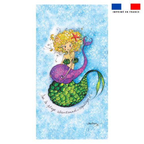 Coupon éponge pour serviette de plage simple motif sirène - Création Audrey Baudo