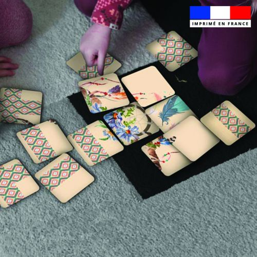 Patron imprimé pour jeu de puzzle 2 en 1 motif boho