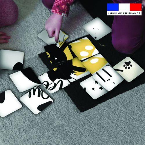 Patron imprimé pour jeu de puzzle 2 en 1 motif chat