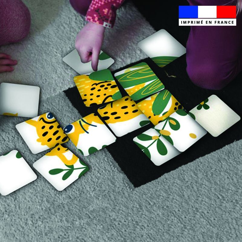 Patron imprimé pour jeu de puzzle 2 en 1 motif animaux de la jungle