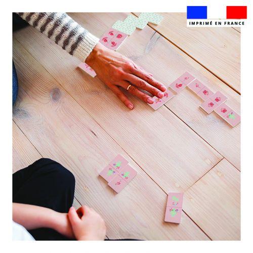 Patron imprimé pour jeu de dominos motif flamant rose