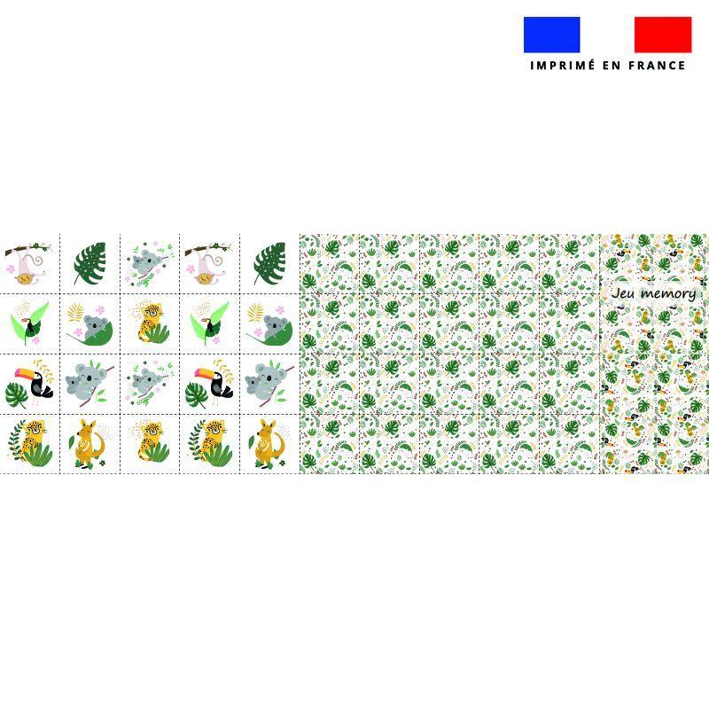 Patron imprimé pour jeu memory motif animaux de la jungle