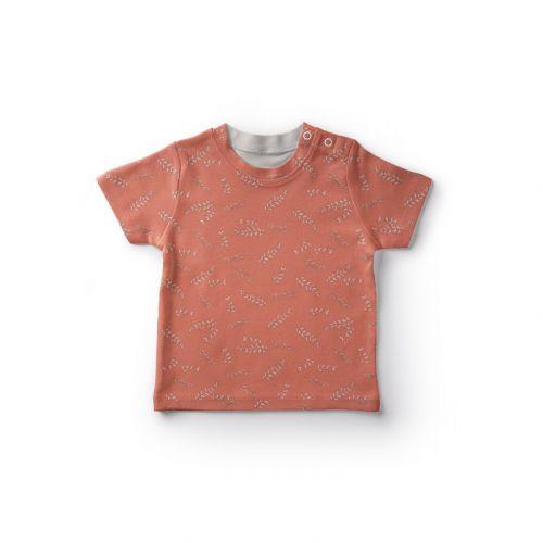 Jersey coton orange imprimé feuilles Oeko-tex