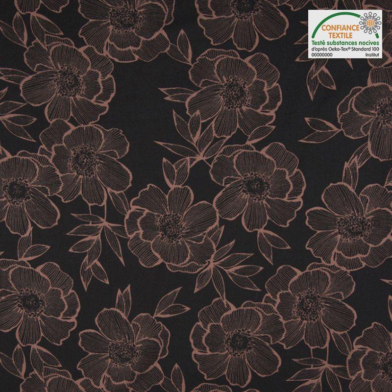 Tissu viscose noir motif grosses fleurs roses
