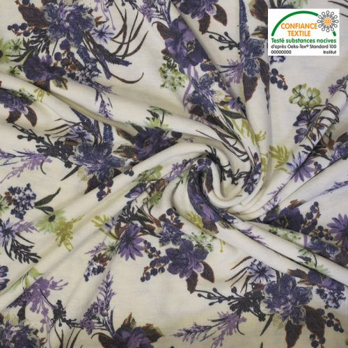 Lainage écru imprimé fleurs violettes