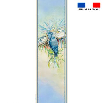 Coupon 45x150 cm tissu imperméable motif mésange pour transat - Création Véronique Baccino