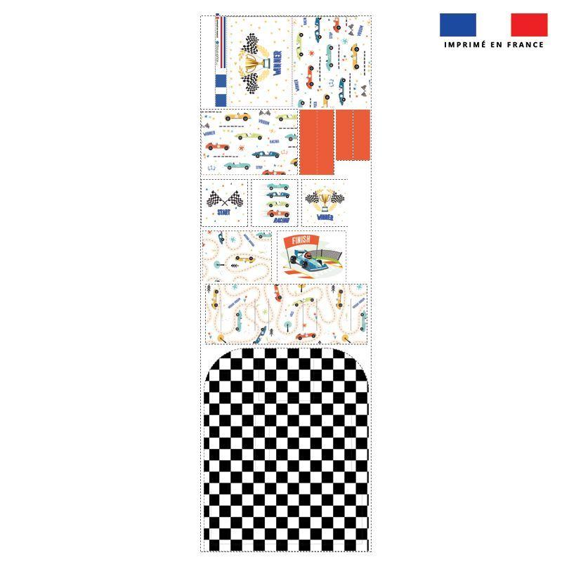 Patron pour organisateur de voiture motif course de voiture + Kit pochette Offert