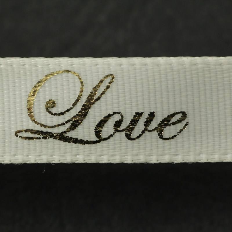 """Ruban fantaisie """"Love"""" crème 10 mm"""