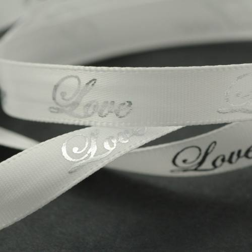 """Ruban fantaisie """"Love"""" blanc 10 mm"""