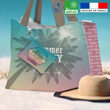 Kit sac de plage imperméable motif summer party - King size