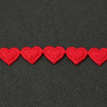 Galon fantaisie thermocollant coeur rouge
