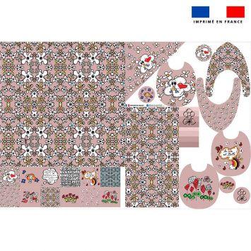 Coupon éponge kit puériculture motif poème rose - Création Anne-Sophie Dozoul