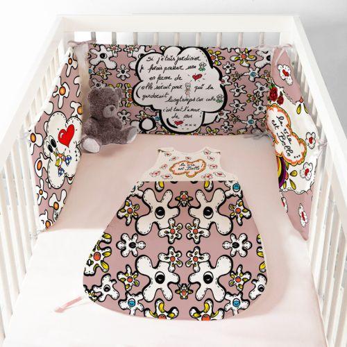 Coupon velours d'habillement motif poème rose - Gigoteuse et Tour de Lit - Création Anne-Sophie Dozoul
