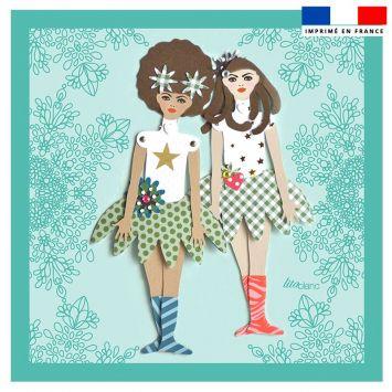 Coupon 45x45 cm motif poupée rétro vert - Création Lita Blanc