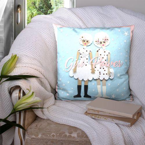 Coupon 45x45 cm motif girl power bleu - Création Lita Blanc