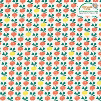 coupon - Coupon 33cm - Coton écru motif radis Oeko-tex