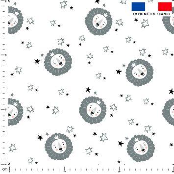coupon - Coupon 90cm - Lion baby bleu et gris - Fond blanc - Polaire 240 gr/m² - 150 cm