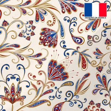 coupon - Coupon 70x60cm - Tissu microfibre sable imprimé floral façon cachemire - Microfibre 105 gr/m² - 150 cm