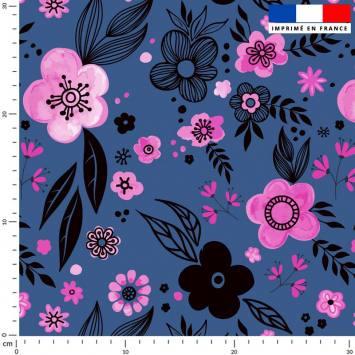 coupon - Coupon 110x100cm - Iris roses - Fond bleu - Polaire 240 gr/m² - 150 cm
