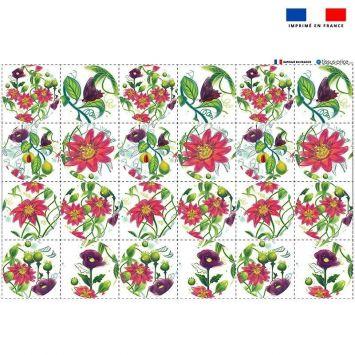 Coupon microfibre pour lingettes lavables forme ronde motif flowers rouges Oeko-tex - Création Pilar Berrio