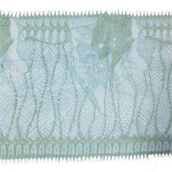 Dentelle de Calais bleue et dorée 20 cm