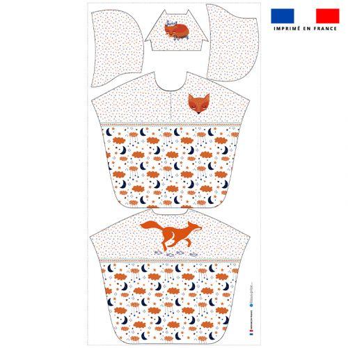 Patron imprimé sur tissu éponge pour poncho de bain motif renard