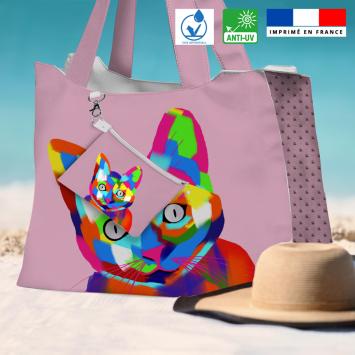 Kit sac de plage imperméable motif chat multicolore - Queen size - Création Lily Tissot