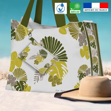 Kit sac de plage imperméable motif palme exotique verte - Queen size - Création Marie-Eva