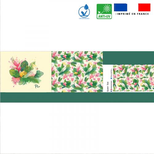 Kit sac de plage imperméable motif pastèque et feuille exotique - Queen size - Création Pilar Berrio