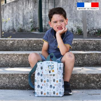 Kit sac à dos enfant motif animaux de la forêt