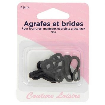 Agrafes et brides pour manteaux x3 noir