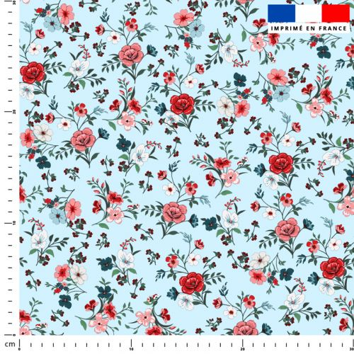 Petites fleurs champêtres rouges - Fond bleu ciel