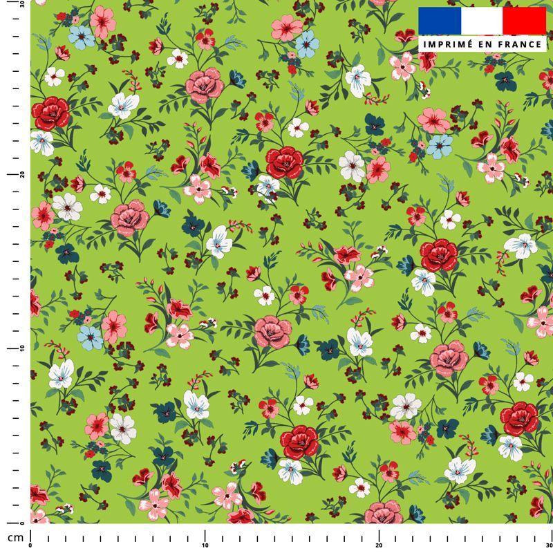 Petites fleurs champêtres rouges - Fond vert clair