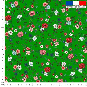 Petites fleurs champêtres rouges - Fond vert foncé